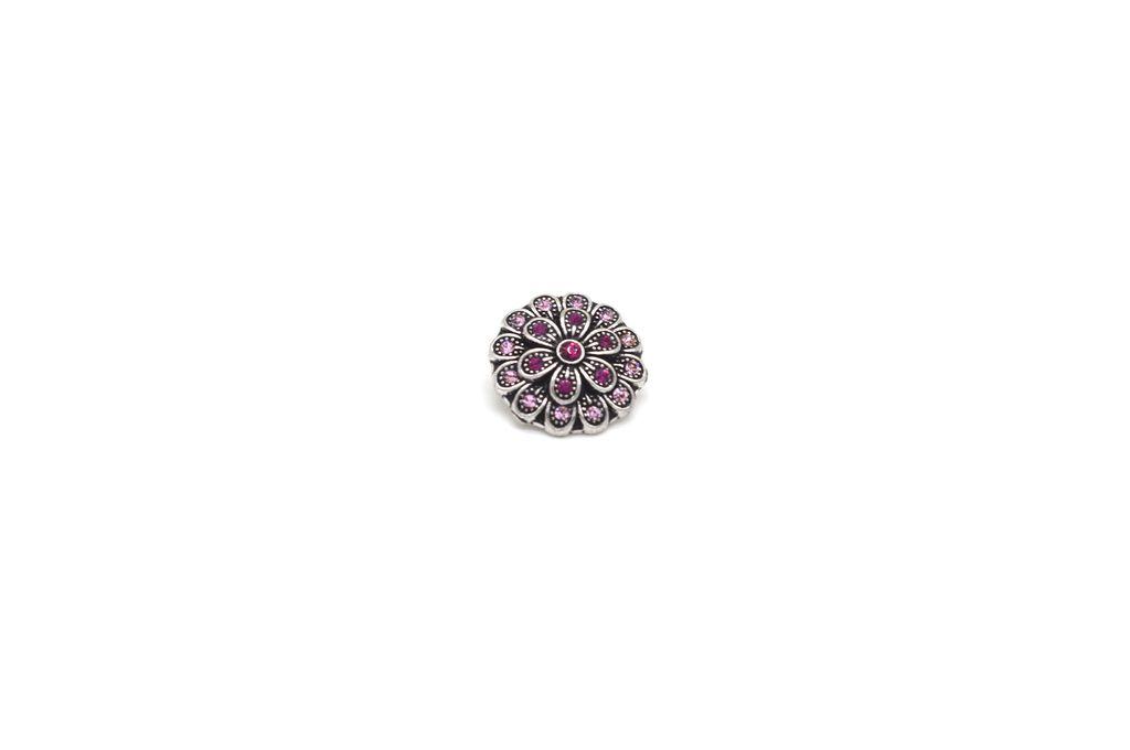 Sparkling Pink Flower Snap Button