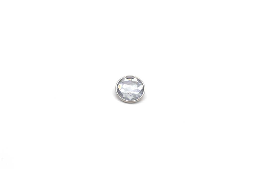 White Diamond Cut Snap Button