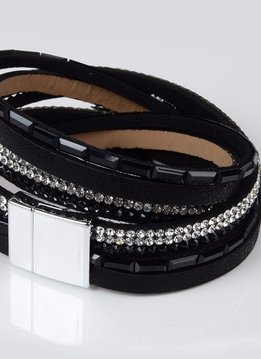 Magnetic Feather Wrap Bracelet-Black