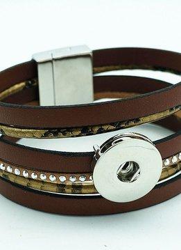 Magnetic 18MM Snap Bracelet-Brown