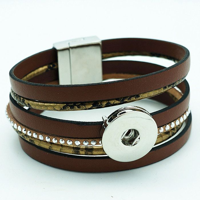 Magnetic 18MM Snap Bracelet-Brown