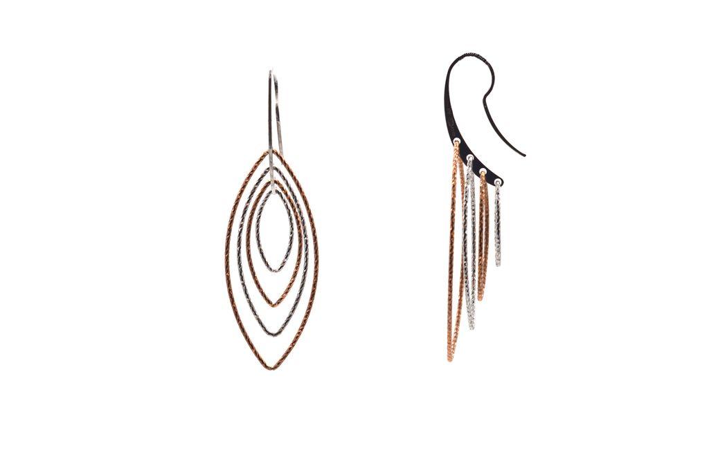 In-Motion Oval Diamond Gold/SIlver Earrings