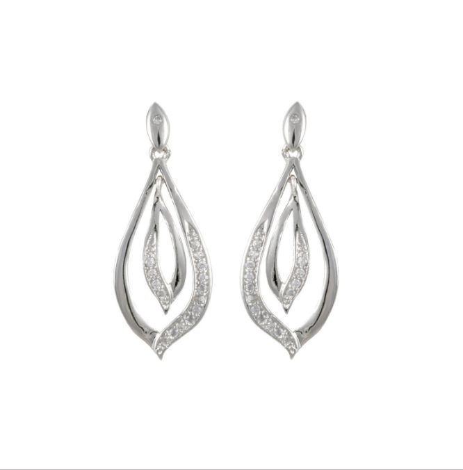 Cubic Zirconium Silver Dangling Loop Earrings