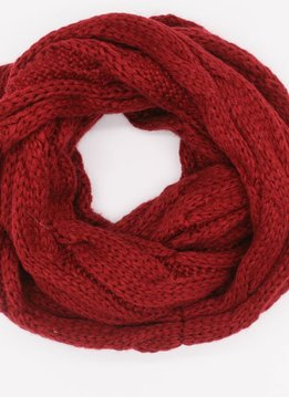 Red Winter Knit Infinity Scarf
