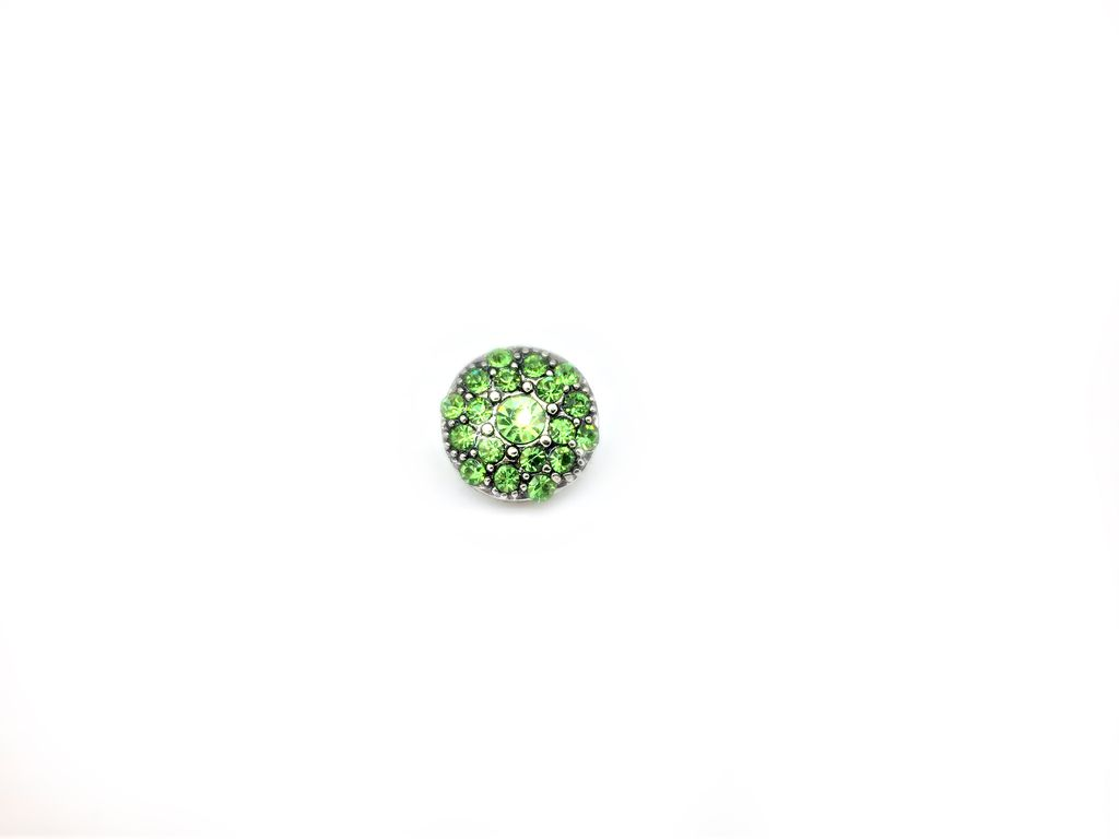 Sparkling Green, Rhinestone Sudded Snap Button