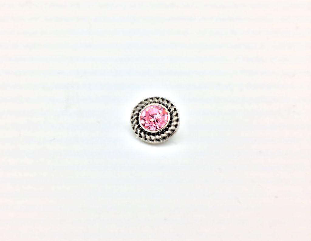 Pink Rhinestone 12mm Snap Button