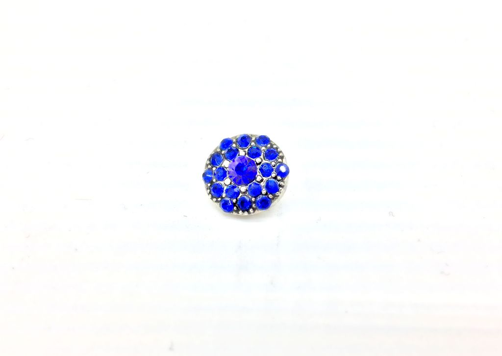 Blue Rhinestone-Studded 12mm Snap Button