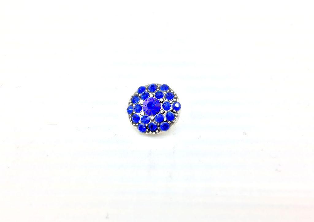 Blue Rhinestone-Studded 12mm Snap Button