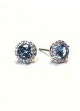 Premium CZ Birthstone Earrings-March