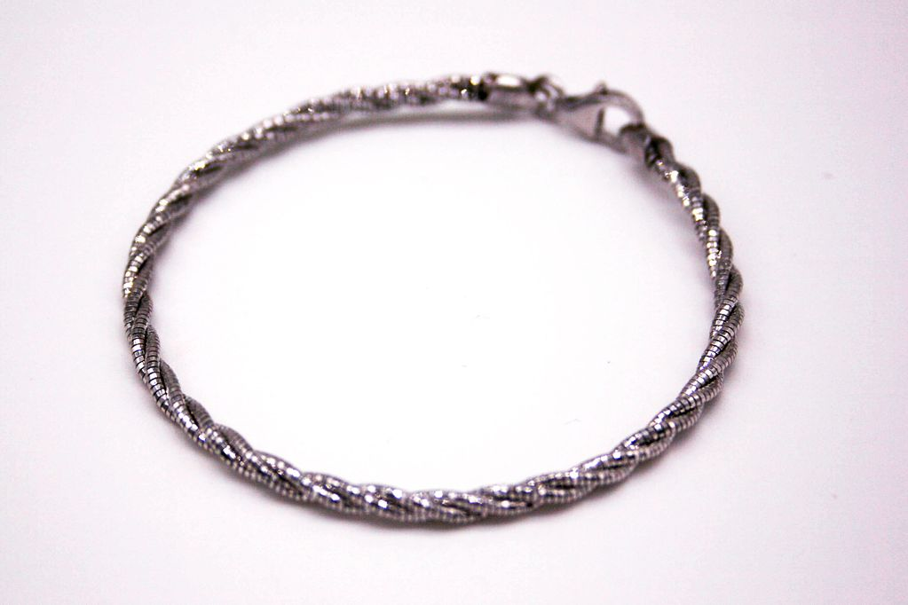 Sterling Silver Twisted Wire Silver Bracelet