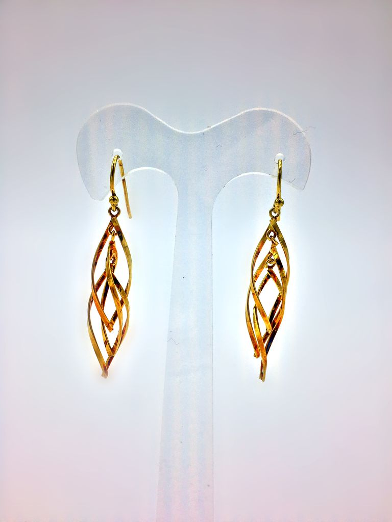 Gold Sterling Silver Dangling Earrings