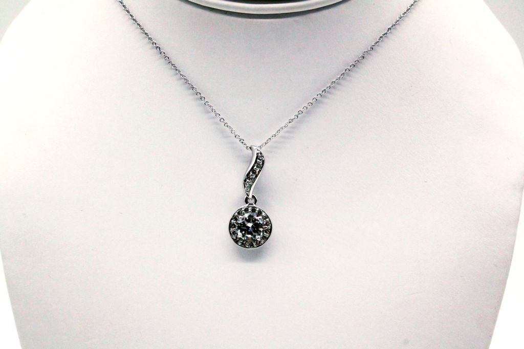 Round Cubic Zirconium Pendant with 1 inch Drop and an 18inch Chain