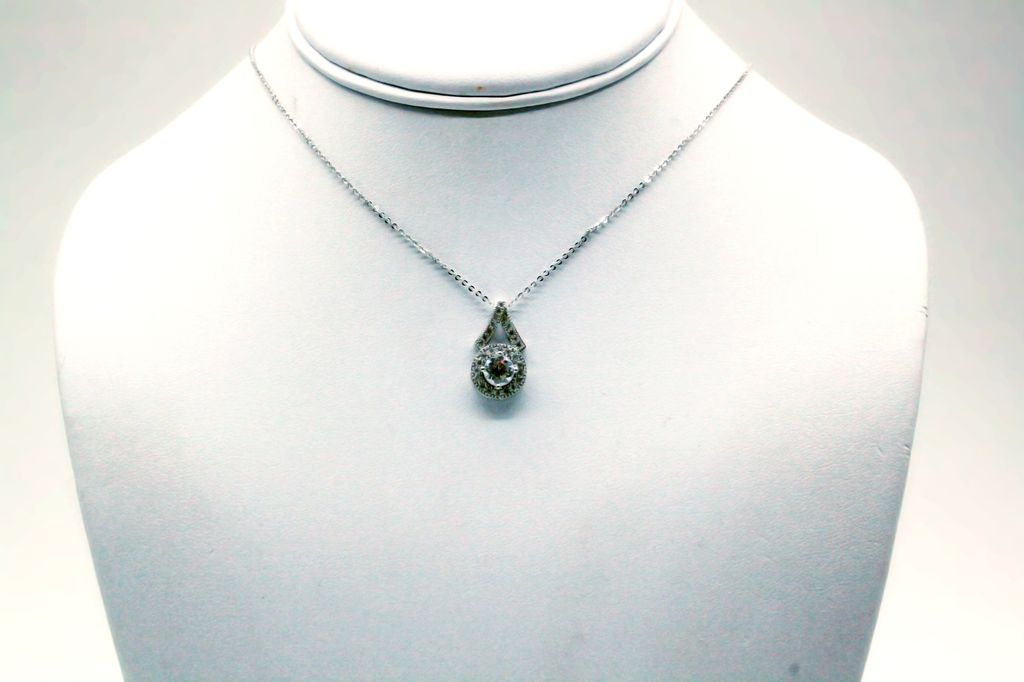 Cubic Zirconium Round Pendant with Matching Earrings