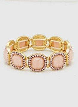 Pink Seed Bead Stretchy Bracelet