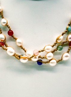 Pearl and Stone 3 Strand Necklace