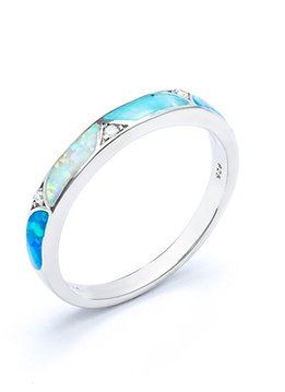 White and Blue Opal Sterling Silver Ring
