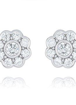CZ Sterling Silver Floret Stud Earring