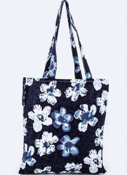 Navy Blue Flower Tote Bag