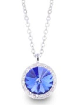 Lifestones Halo Swarovski Saphire Silver Necklace