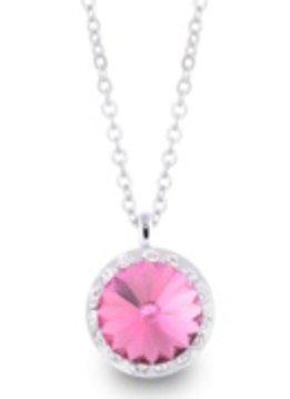 Lifestones Halo Swarovski Rose Silver Necklace