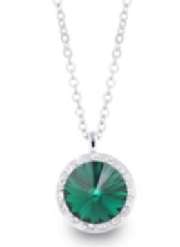 Lifestones Halo Swarovski Emerald Silver Necklace