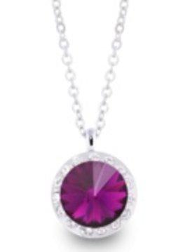 Lifestones Halo Swarovski Amethyst Silver Necklace