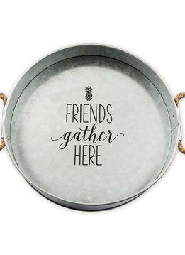 Friends Gather Here Large Metal Tray
