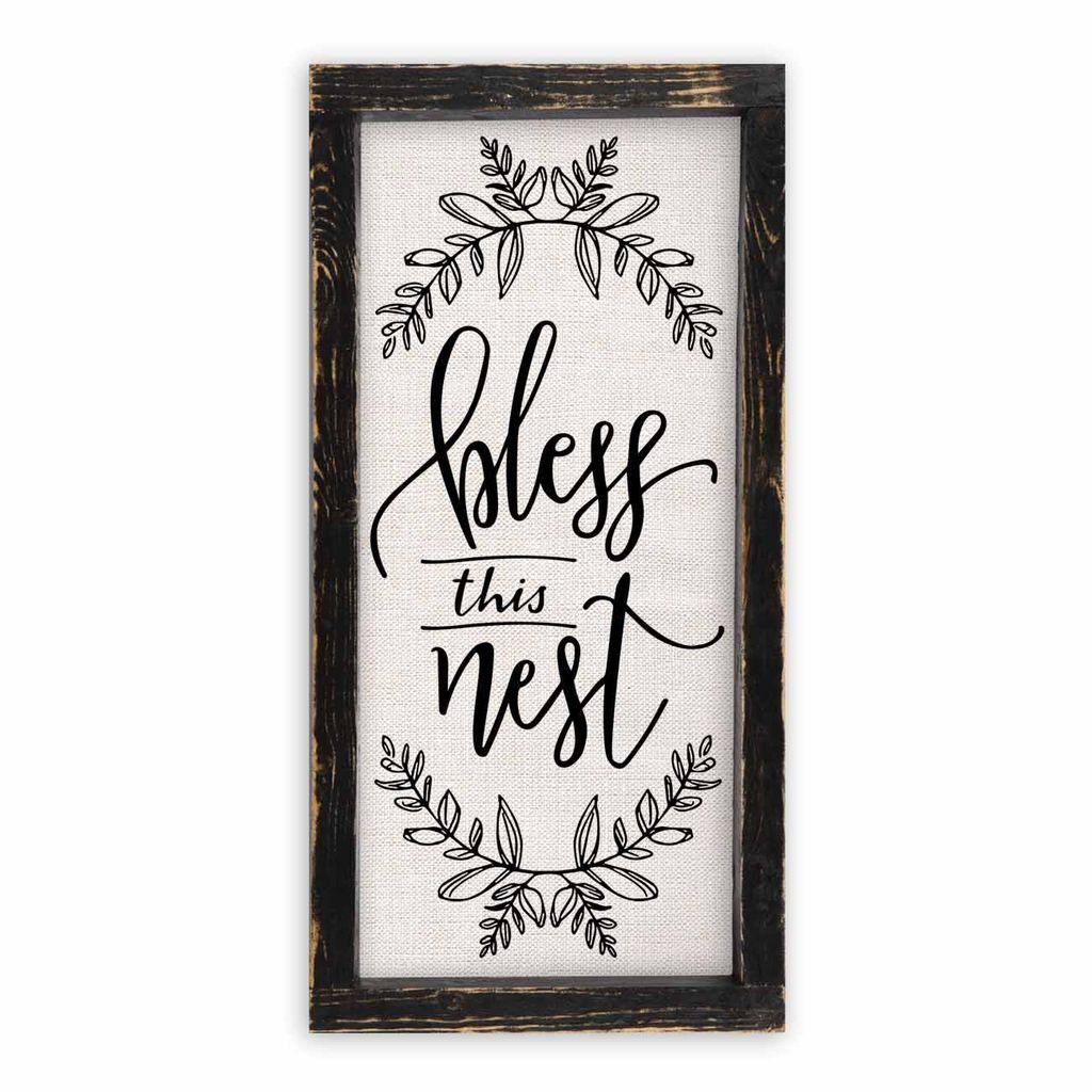 Bless This Nest Linen Sign
