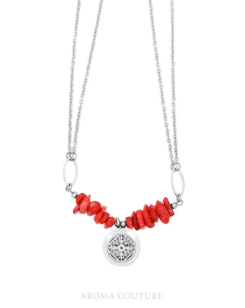 Adelle Red Jase Diffuser Necklace 16""