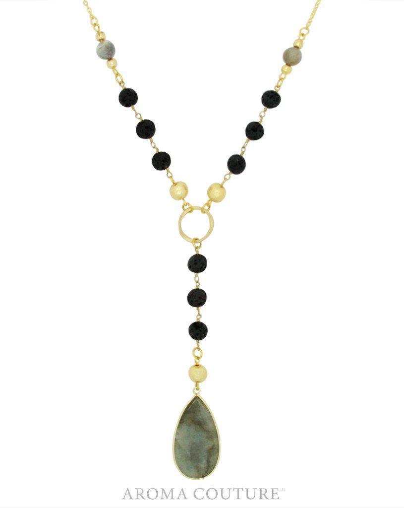 """24"""" Lacy Labradorite/Lava Diffuser Necklace"""