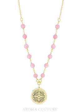 """Clarissa Rose Quartz/Diffuser Necklace 18"""""""