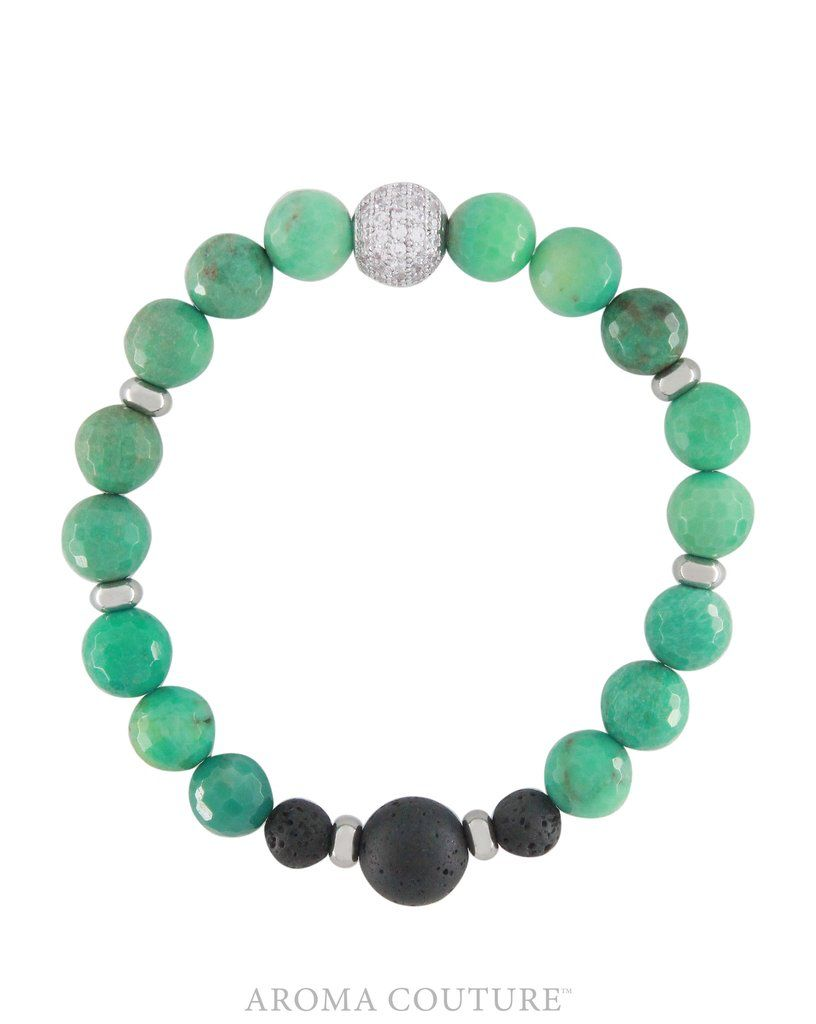 Chrysoprase Lava Diffuser Bracelet Medium/Large