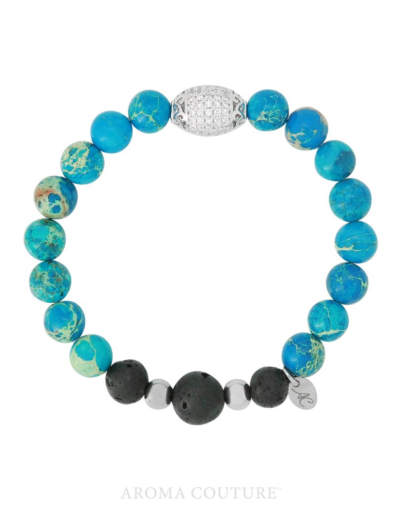 Ocean Blue Jasper/Lava Diffuser Bracelet Small