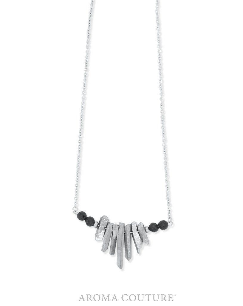 """Kennedy Quartz and Lava Mini Statement Diffuser Necklace 18"""""""