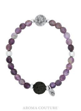 Druzy Amethyst Lava Bracelet Small