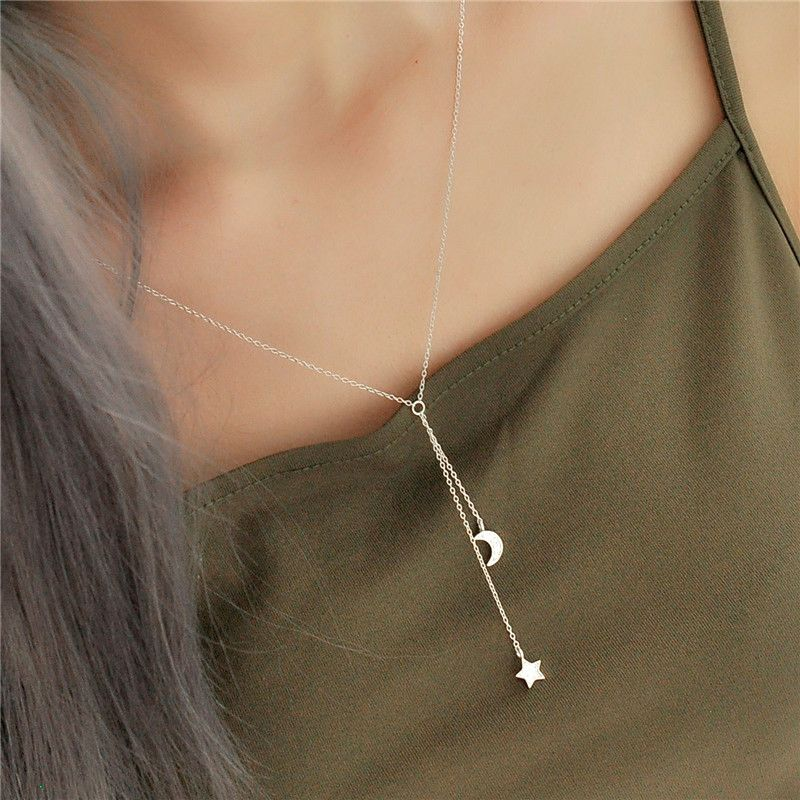 Sterling Silver Star and Moon Dangling Necklace