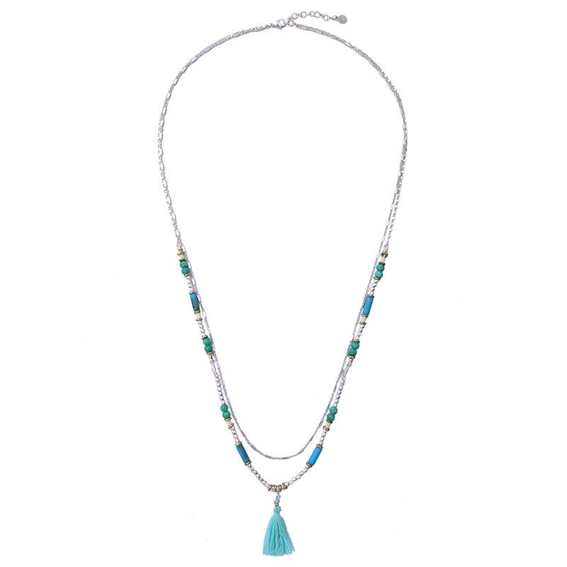 Long Double Necklace Blue and Green Silver with Tassel
