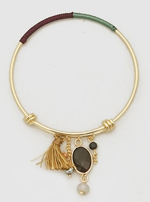 Green and Marroon Bangle with Tassel Dangle
