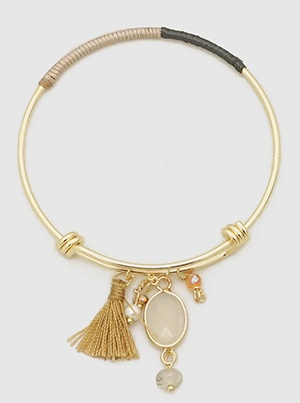 Grey and Tan Bangle with Tassel