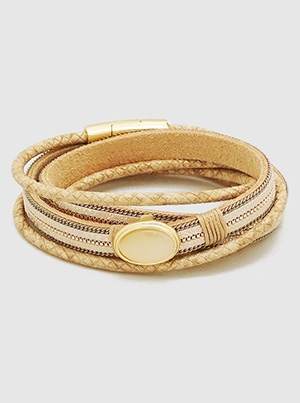 Tan Wrap Bracelet with Magnet Clasp