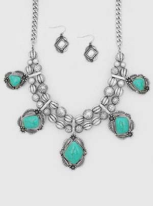Chunky Silver with Turquoise Stones