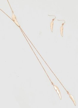 Long Rose Gold Necklace with Feathers