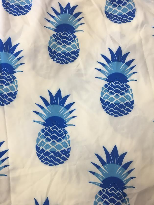 Blue Pinapple Round Towel.