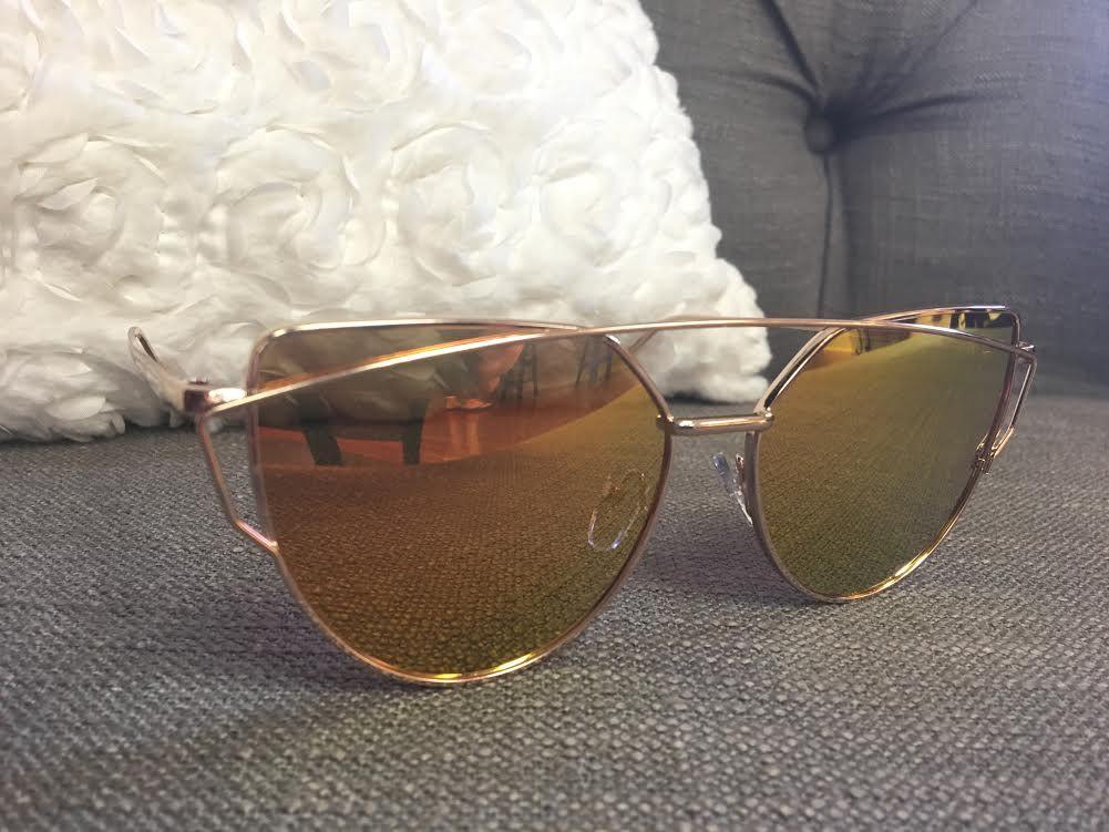 Gold Framed Sunglasses with Orange Reflective Lenses