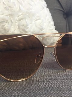 Gold Framed Sunglasses with Brown Tinted Lenses