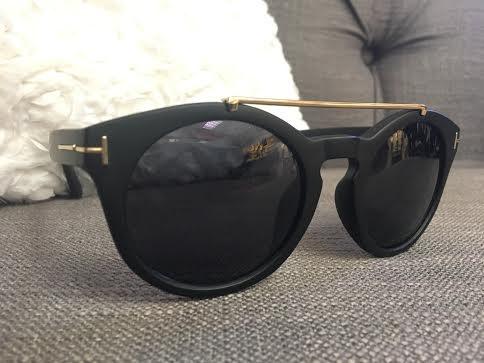 Matte Black Sunglasses with Gold Bar