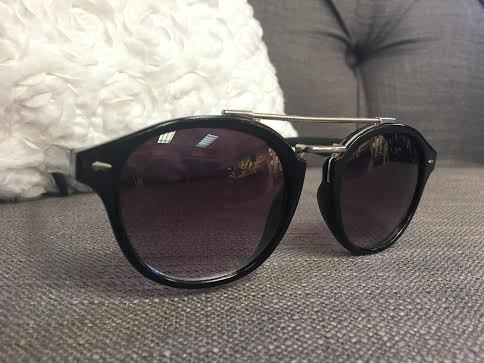 Glossy Black Sunglasses with Silver Bar