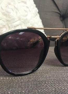 Glossy Black Sunglasses with Gold Bar