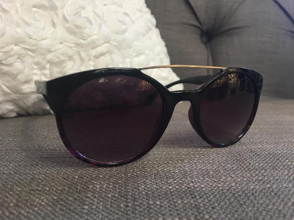 Glossy Purple Tortoise Shell Sunglasses with Silver Bar