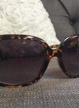 Wide Lens Tortoise Shell Sunglasses with Bling